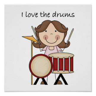 I Love The Drums Kids Music Gift Posters