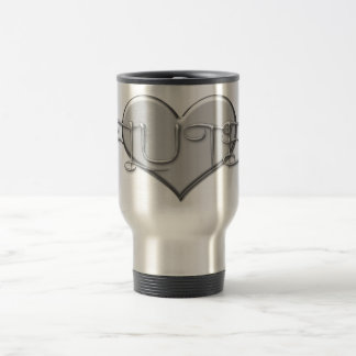 I Love The Flute Silver Heart Travel Mug