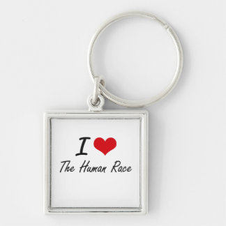 I love The Human Race Silver-Colored Square Key Ring