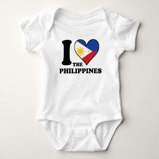 I Love the Philippines Filipino Flag Heart Baby Bodysuit
