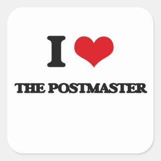 I Love The Postmaster Square Sticker