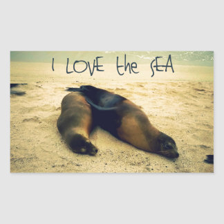 I love the Sea quote beach with sea lions Rectangular Sticker