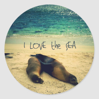 I love the Sea quote beach with sea lions Round Sticker
