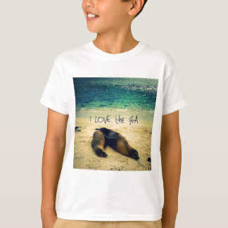 I love the Sea quote beach with sea lions T-Shirt