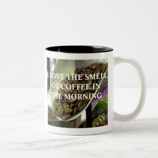 I LOVE THE SMELL OF COFFEE IN THE MORNING Two-Tone COFFEE MUG