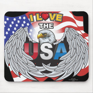 I LOVE THE USA AMERICAN EAGLE WINGS PATRIOT HEART MOUSE PAD