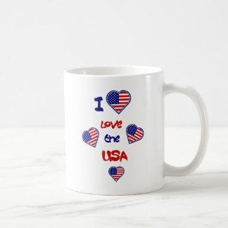 I Love the USA Heart Flags Mugs