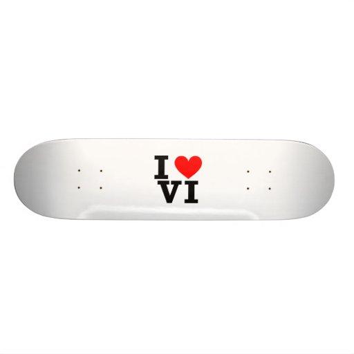 I Love the Virgin Islands Design Skateboard Deck
