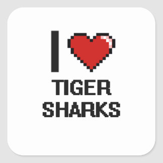 I love Tiger Sharks Digital Design Square Sticker