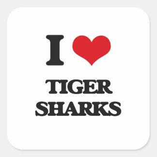 I love Tiger Sharks Square Sticker