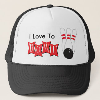 I Love To Bowl Trucker Hat
