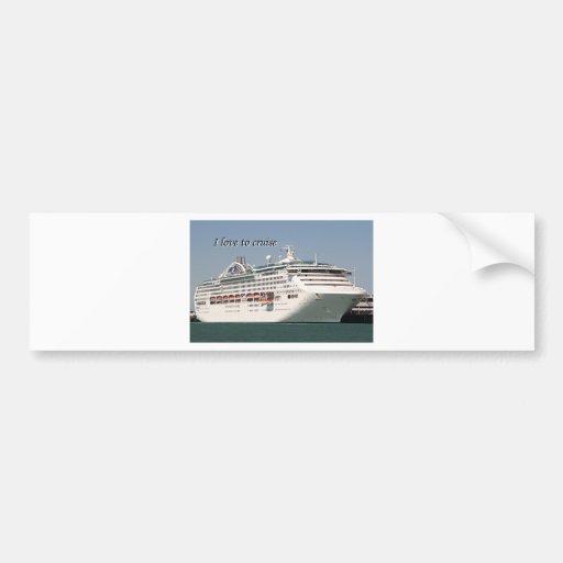 I love to cruise: cruise ship 2 bumper sticker