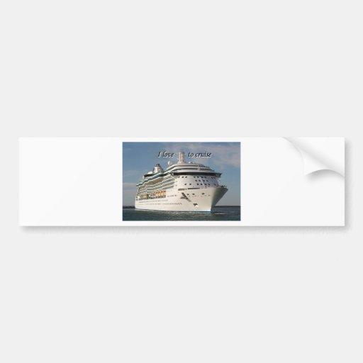I love to cruise: cruise ship 3 bumper sticker