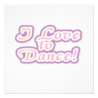 I Love to Dance Tshirts and Gifts Invites
