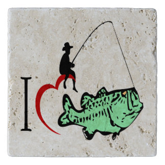 I love to go fishing with a red heart trivet