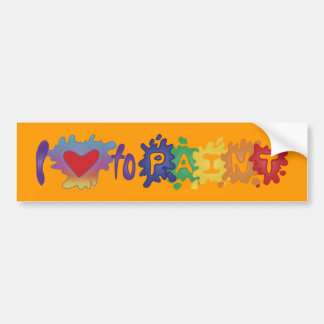 I Love to Paint Bumper Sticker