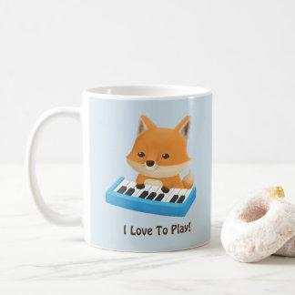 I love to Play Cute Fox on Piano Kids Mug