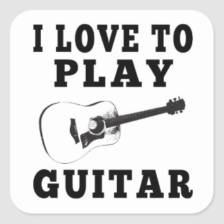 I Love To Play Guitar Square Sticker
