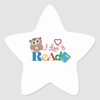 I LOVE TO READ STAR STICKER