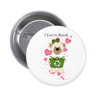I Love to Recycle 6 Cm Round Badge