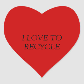 I LOVE TO RECYCLE HEART STICKER