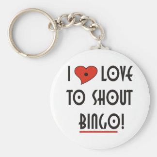 I Love to Shout  BINGO Basic Round Button Key Ring