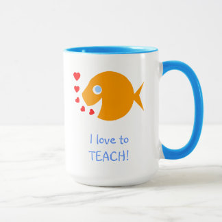 I Love to Teach Happy Goldfish with Little Hearts Mug