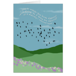 i love to watch the birds greeting card