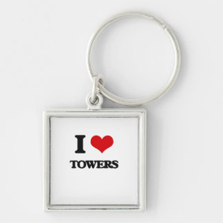 I love Towers Silver-Colored Square Keychain