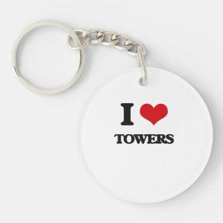 I love Towers Single-Sided Round Acrylic Keychain
