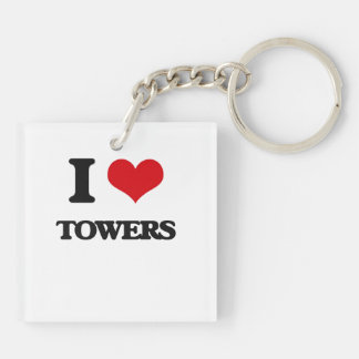 I love Towers Double-Sided Square Acrylic Keychain