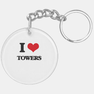 I love Towers Double-Sided Round Acrylic Keychain