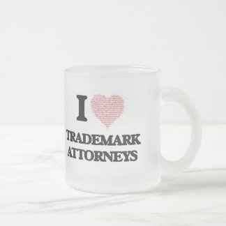 I love Trademark Attorneys (Heart made from words) Frosted Glass Mug