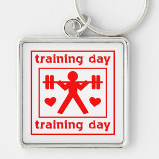 I Love Training Day Silver-Colored Square Key Ring