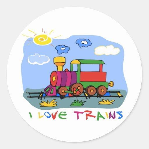 I Love Trains Round Stickers
