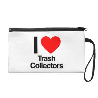 i love trash collectors wristlet clutch