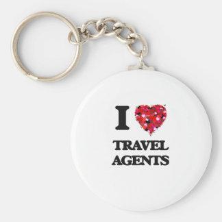 I love Travel Agents Basic Round Button Key Ring