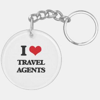 I love Travel Agents Double-Sided Round Acrylic Keychain