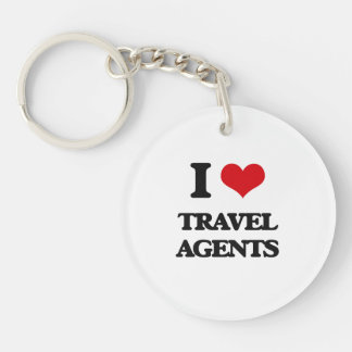 I love Travel Agents Single-Sided Round Acrylic Key Ring