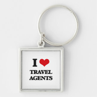 I love Travel Agents Silver-Colored Square Keychain