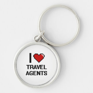 I love Travel Agents Silver-Colored Round Keychain