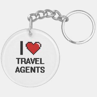 I love Travel Agents Double-Sided Round Acrylic Key Ring