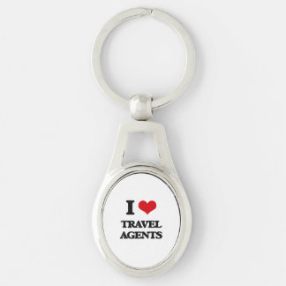 I love Travel Agents Silver-Colored Oval Keychain