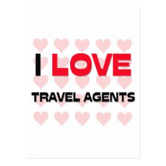 I LOVE TRAVEL AGENTS POSTCARD