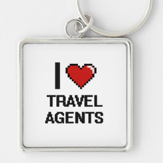 I love Travel Agents Silver-Colored Square Key Ring