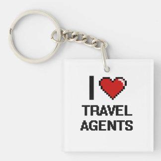 I love Travel Agents Single-Sided Square Acrylic Key Ring