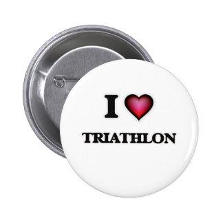 I Love Triathlon 6 Cm Round Badge