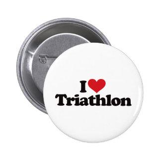 I Love Triathlon Pinback Button