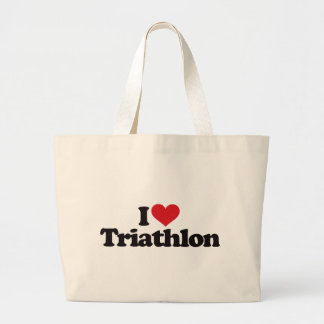 I Love Triathlon Tote Bags