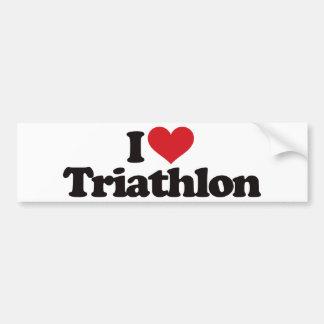 I Love Triathlon Car Bumper Sticker